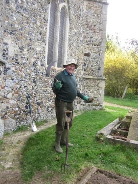 Alan Barrett 2014 doing a spot of churchyard maintenance