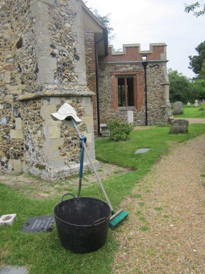 Churchyard Working Party - Broom & Hat having a Break!