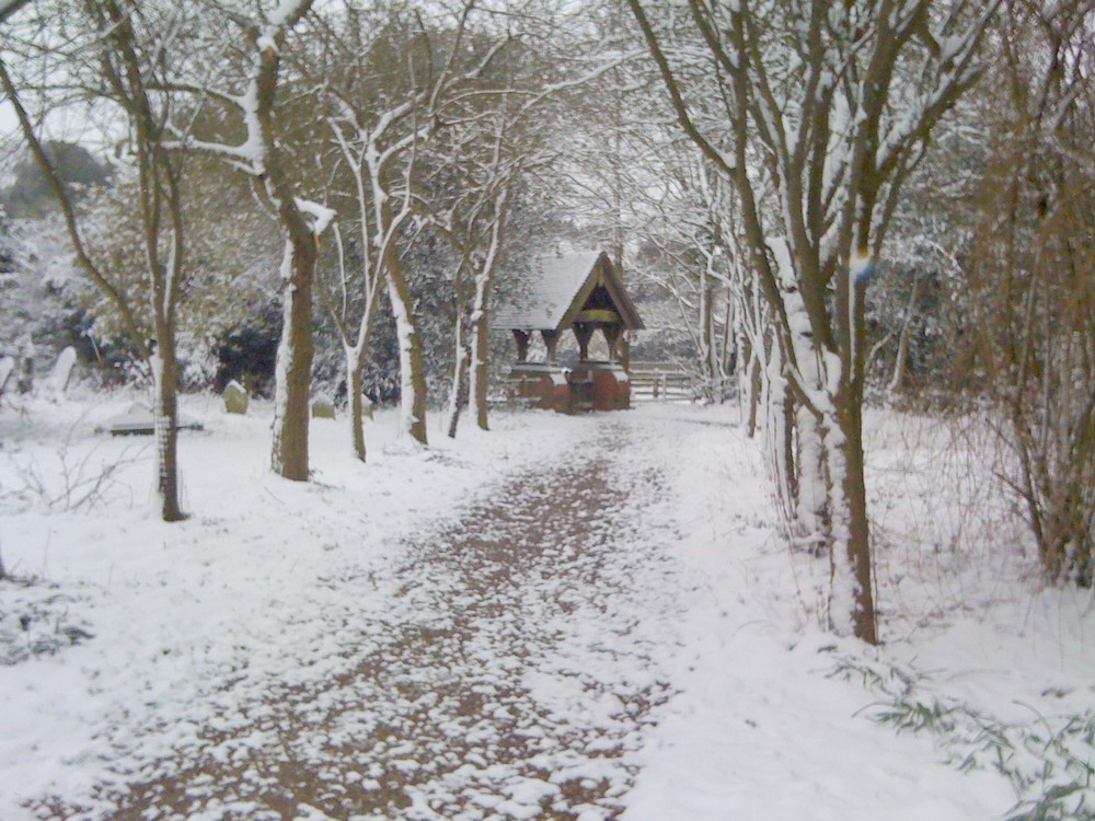 Lychgate in snow